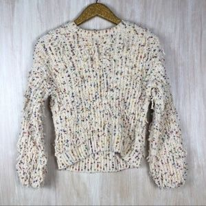 Zara Fancy Collection Knit Shaggy Ivory Sweater